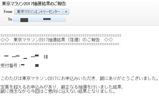 東京マラソン2017年 抽選結果