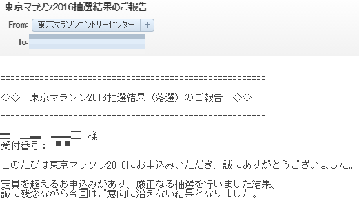 東京マラソン2016年 抽選結果
